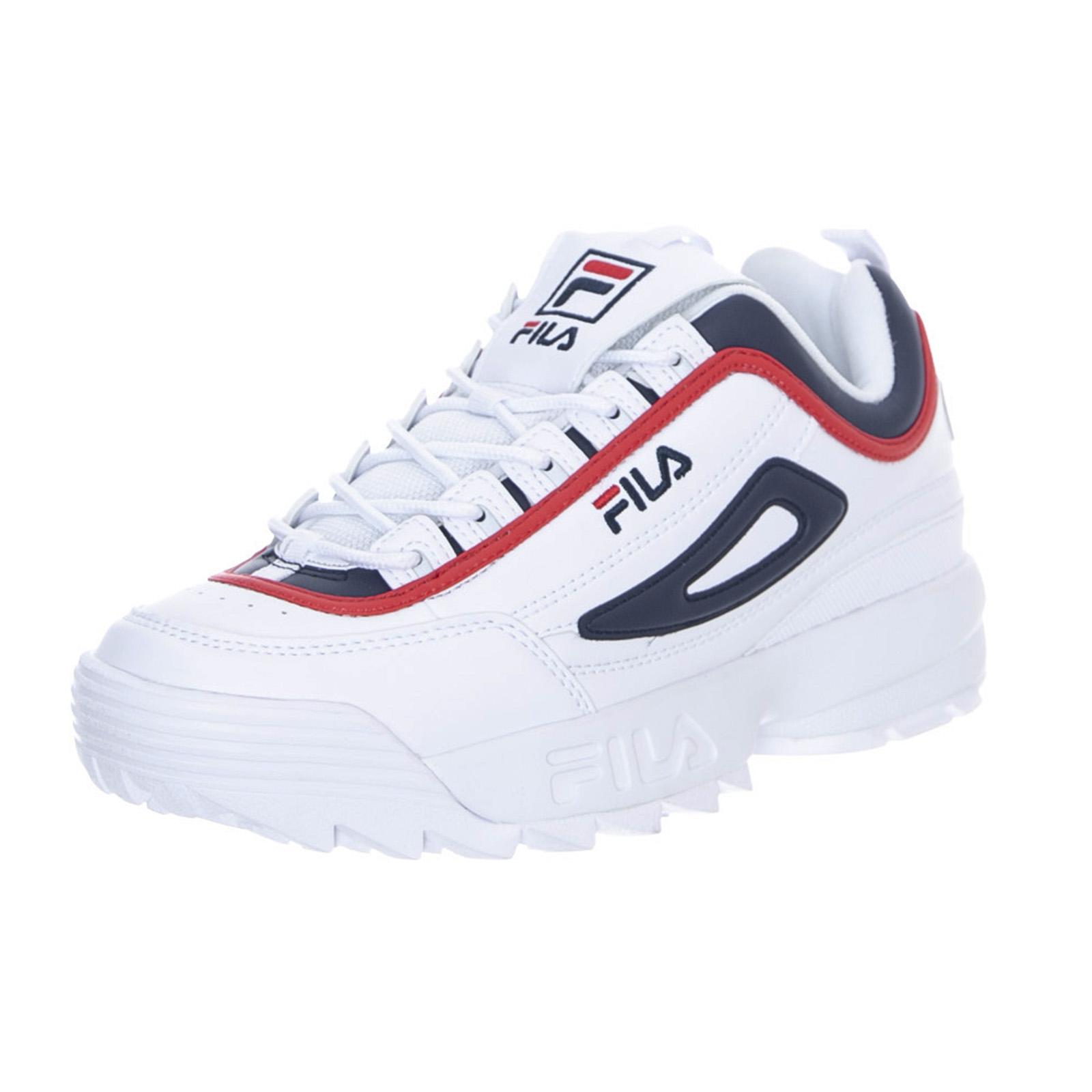 Détails sur Fila Baskets Disruptor Cb Faible BlancRedBleu Chaussures à lacets Femme blanc