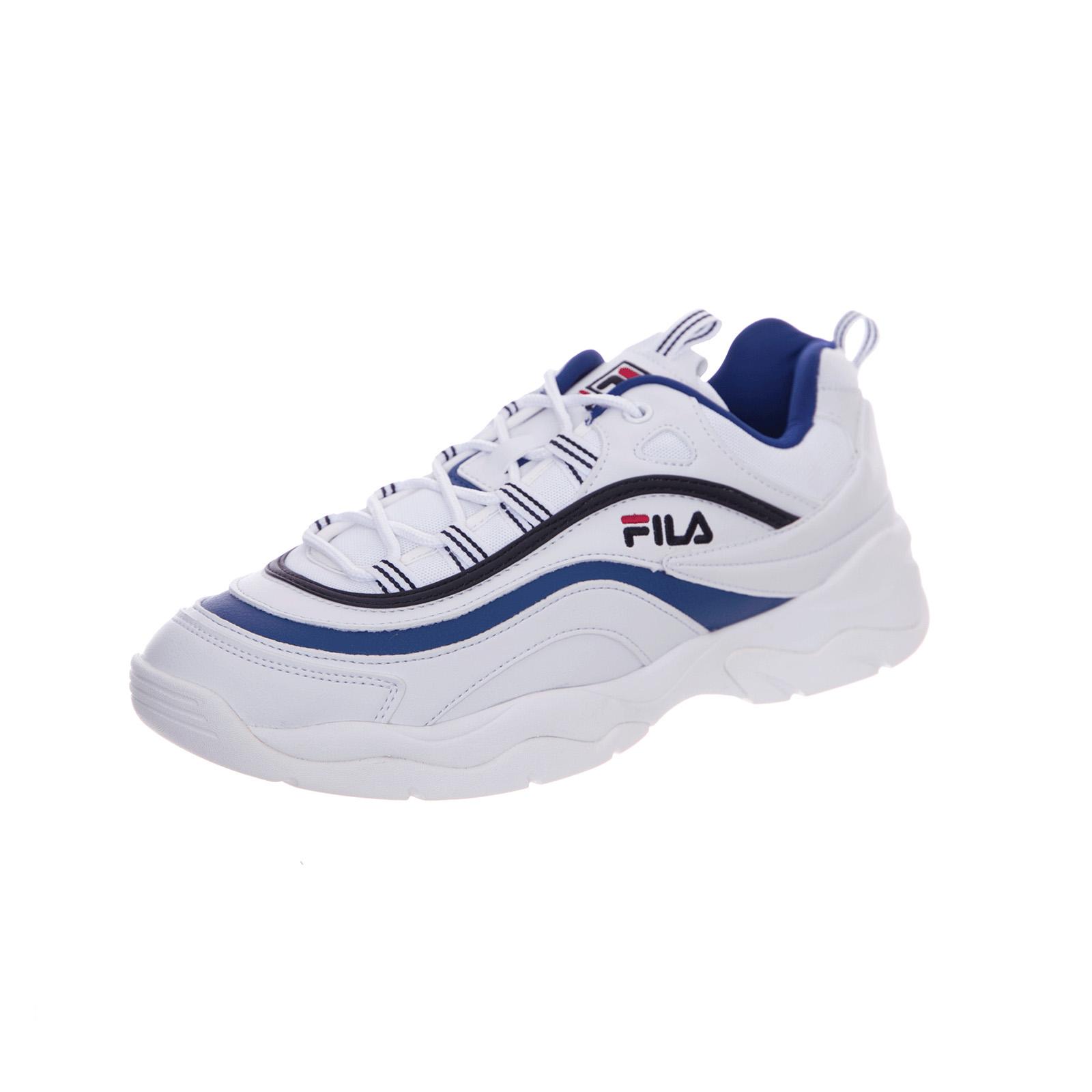 Faible Sur Ray Blancelectric Fila Baskets Détails Blanc Blue JTlK13Fc