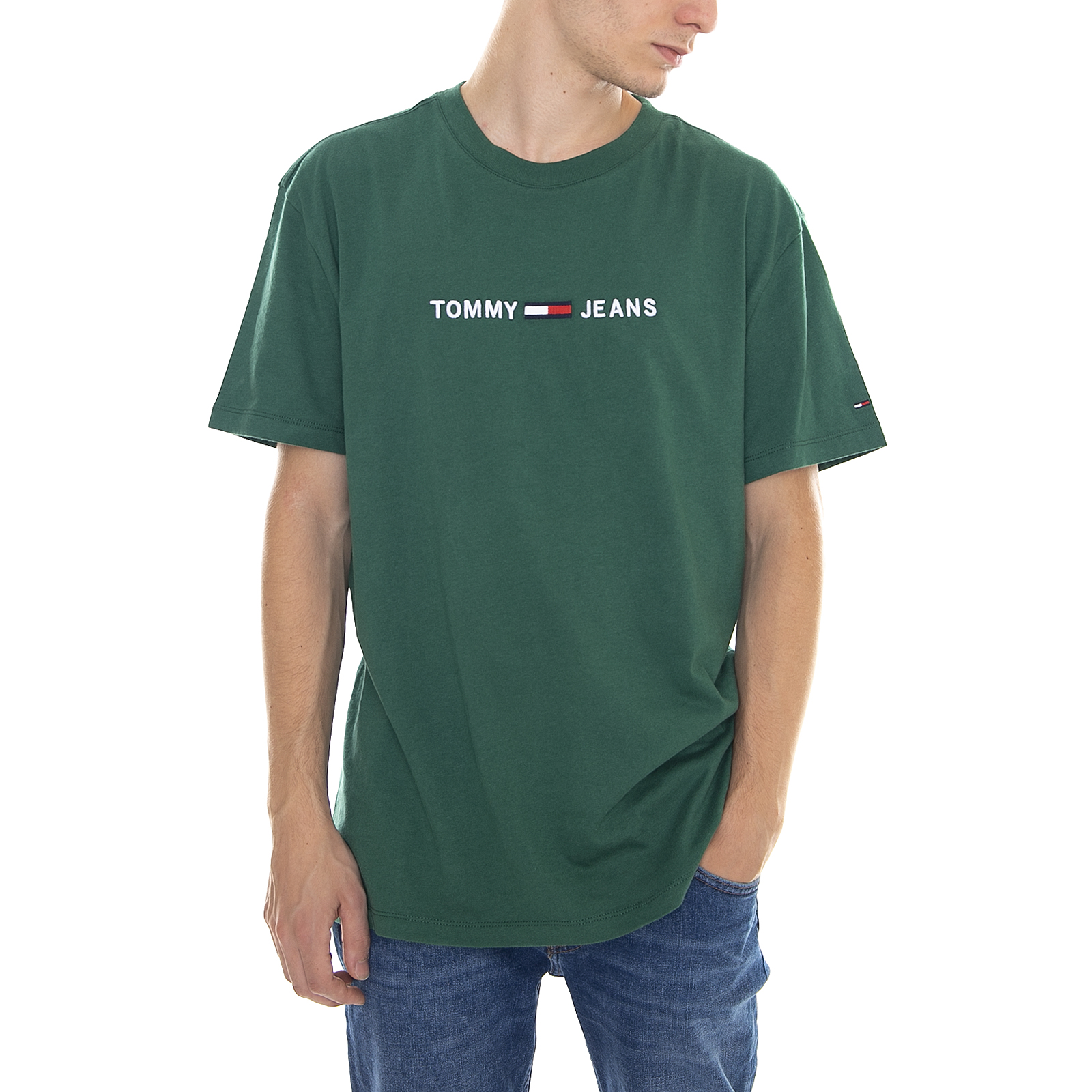 Details About Tommy Hilfiger T Shirt Tjm Small Text Tee Hunter Green Green