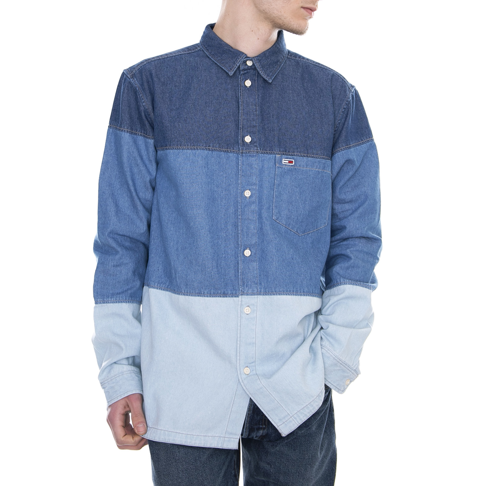 premium selection 52687 006c9 Dettagli su Tommy Hilfiger Camicie Denim Block Shirt Mid Indigo/Multi -  Camicia Uomo Blue