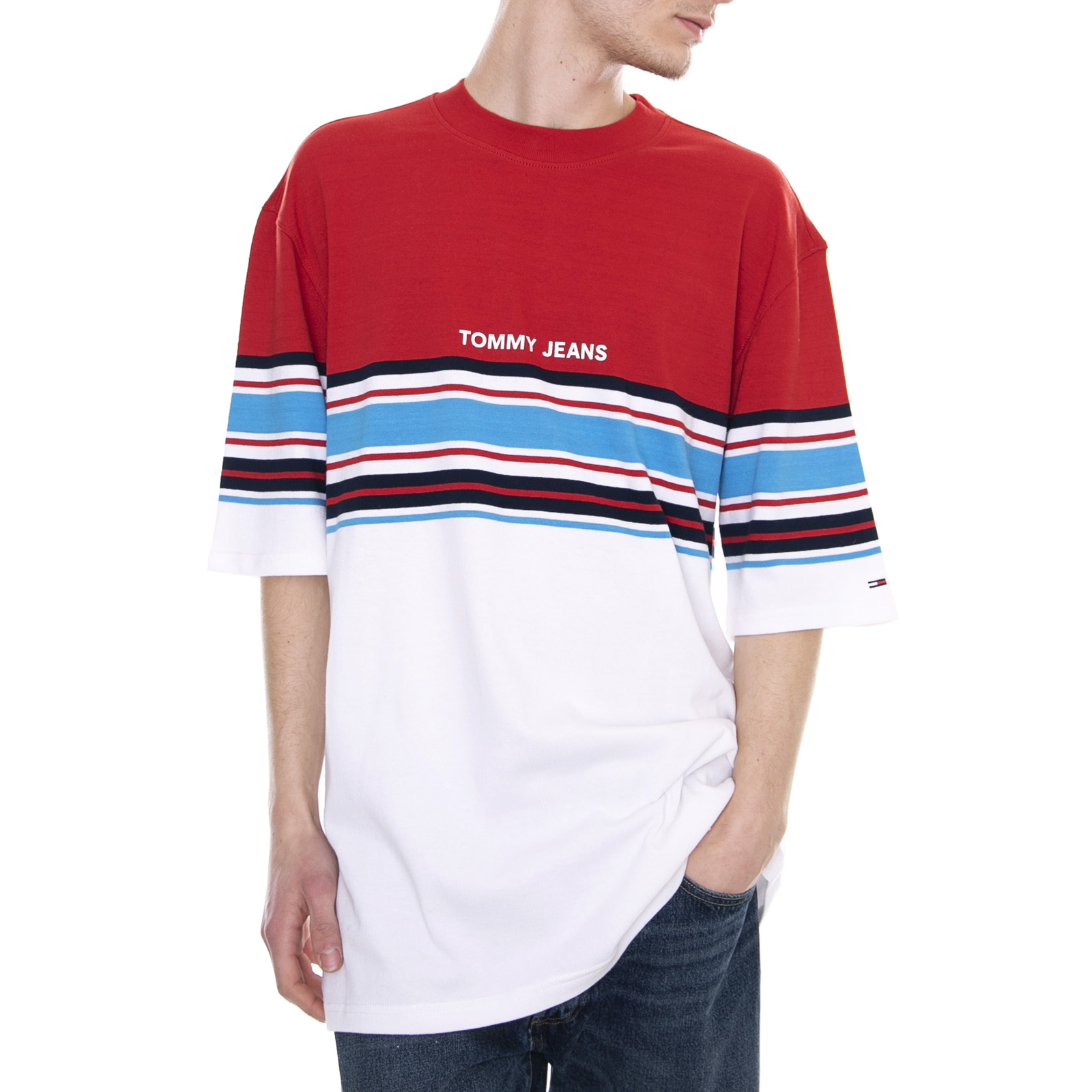 wholesale dealer 2a622 cc7d0 Dettagli su Tommy Hilfiger Placed Stripe Tee Samba/Multicolor Maglietta  Oversize Uomo