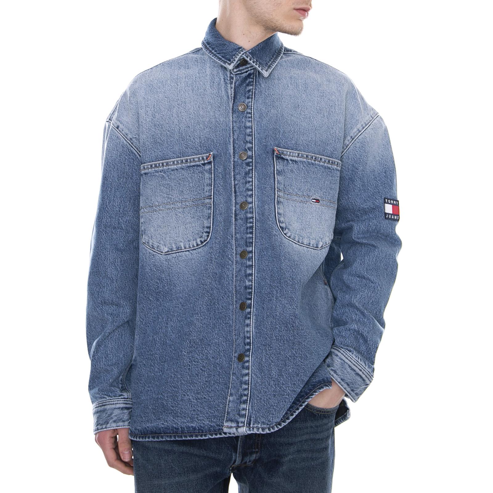 brand new d609a 6c04e Details about Tommy Hilfiger Denim Overshirt Park Light Bl Rig Shirt Jeans  Oversize Man
