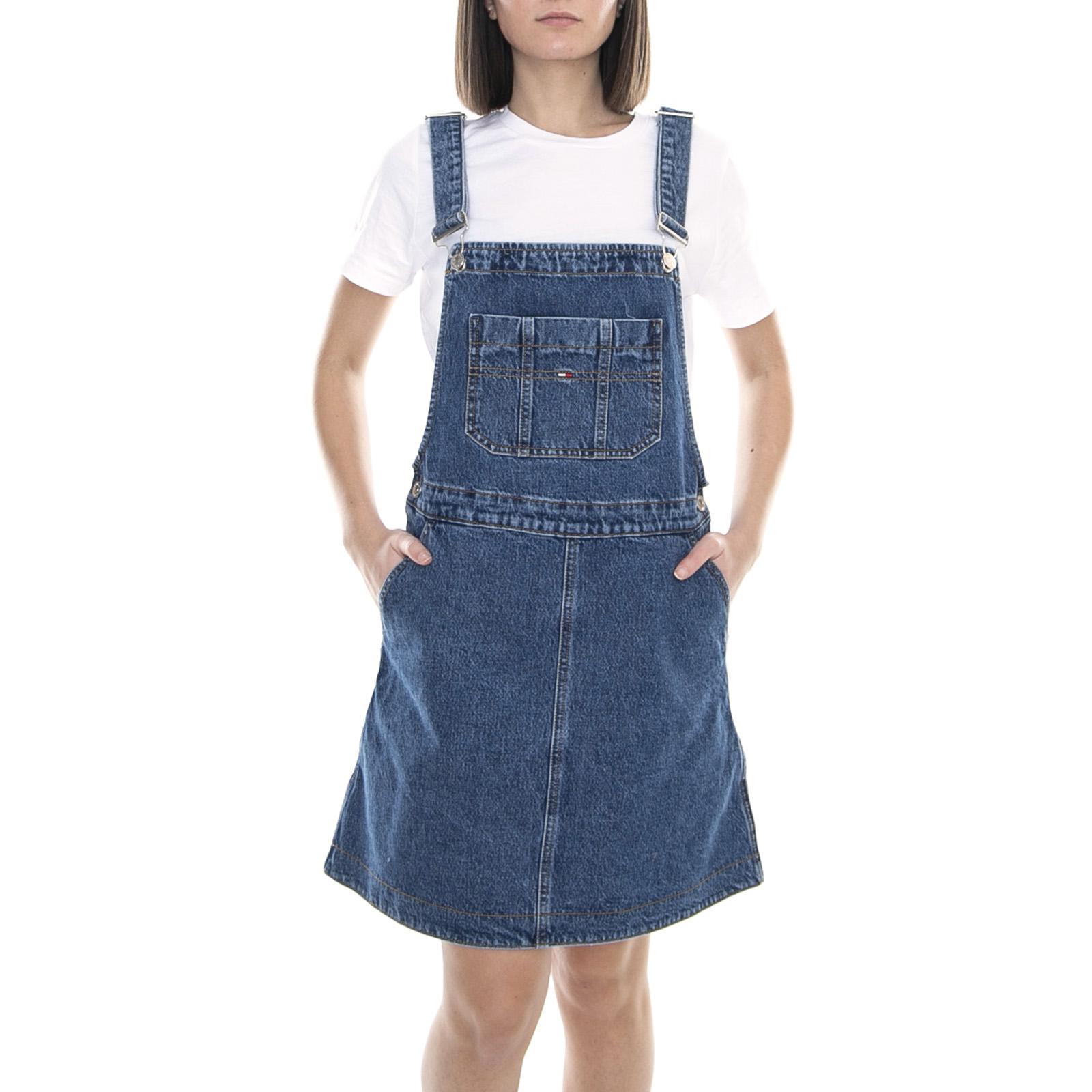 nice cheap good cheapest price Dettagli su Tommy Hilfiger A Line Dungaree Dress Gough Mid Blue Rig -  Salopette Donna Jeans