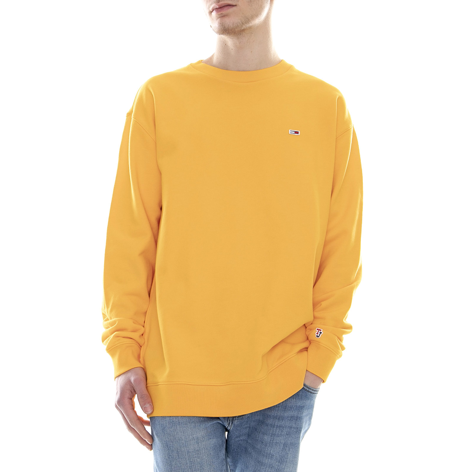 Details about Tommy Hilfiger Classics Crew Radiant Yellow Round necked Sweatshirt Man