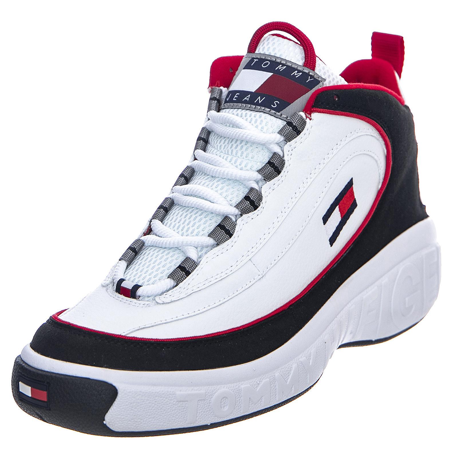 Dettagli su Tommy Hilfiger Heritage Lace Up RedWhiteBlue Sneakers Alte Uomo Multicolor