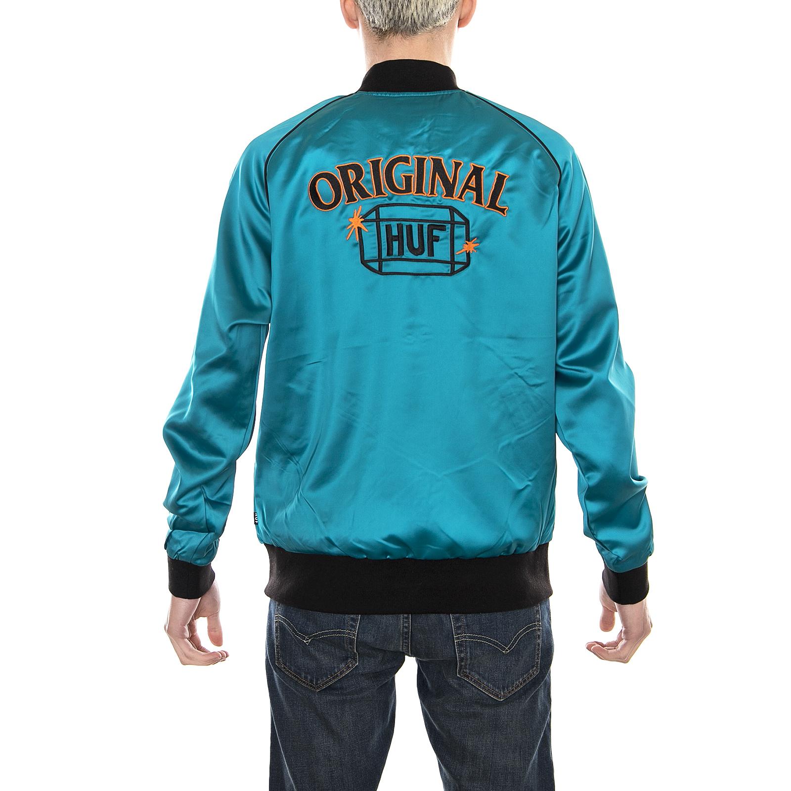 Cabbie Aqua Jacket Huf Azzurro Satin Giacche 58q8xOH